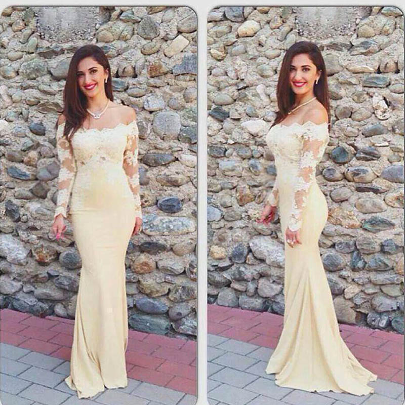 Robe De Soriee New Simple Wedding Dress Full Sleeve Lace: Online Buy Wholesale Light Yellow Evening Dress From China