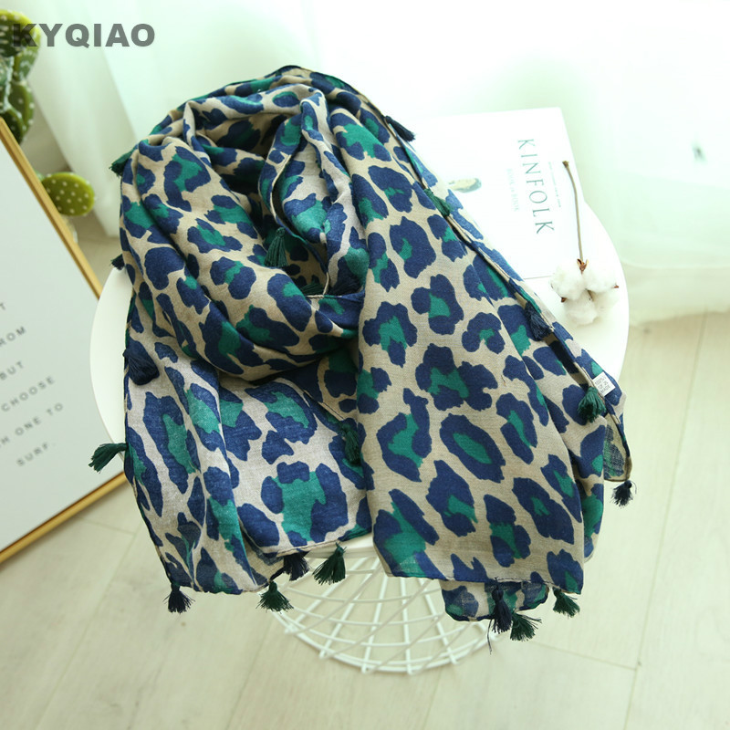 KYQIAO Leopard   scarf   2019 women autumn spring Spain style sexy fashion long blue print   scarves   muffler   wraps