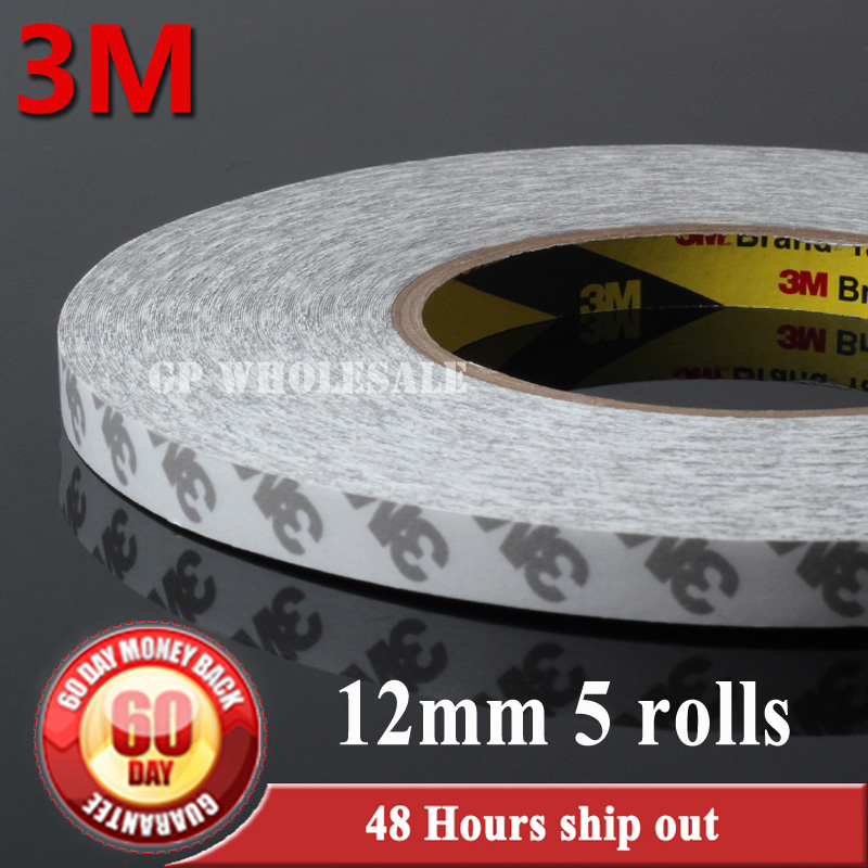 Wholesale! 5 Rolls 12mm*50 meters 3M Double Sides Adhesive Tape for LED Panel, Phone Touch Screen Bezel, Electronic Windows Bond wholesale 5 rolls 9mm 50 meters translucent double sided adhesive tape for phone touch screen lcd led strip 3m 9080
