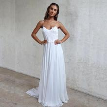 Beach Spaghetti Straps bridal gown 2019 Robe de soiree Lace Top Elegant vestido noiva Boho Chiffon cheap Long Wedding Dresses