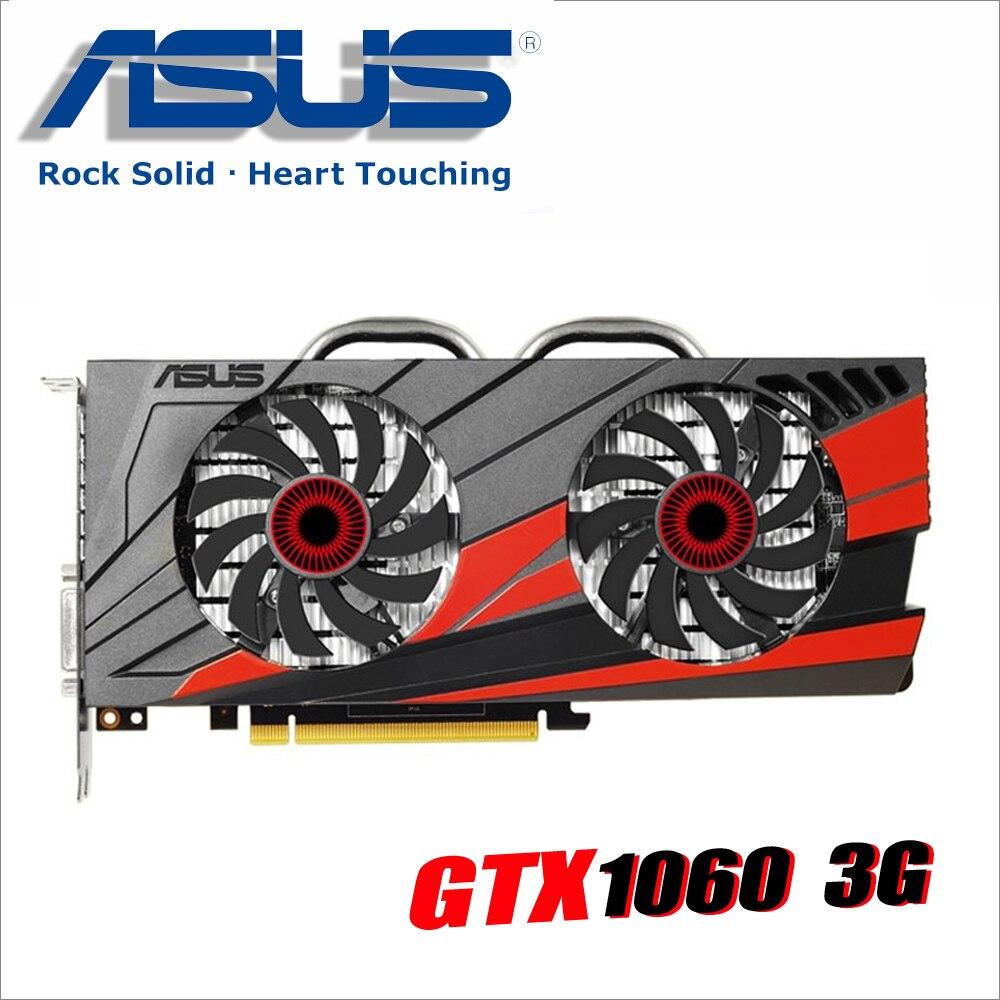 Б/у Видеокарта ASUS оригинальные видеокарты GTX 1060 3 GB 192Bit GDDR5 Графика для nVIDIA карты Geforce GTX1060 1050 TI 750 1050ti