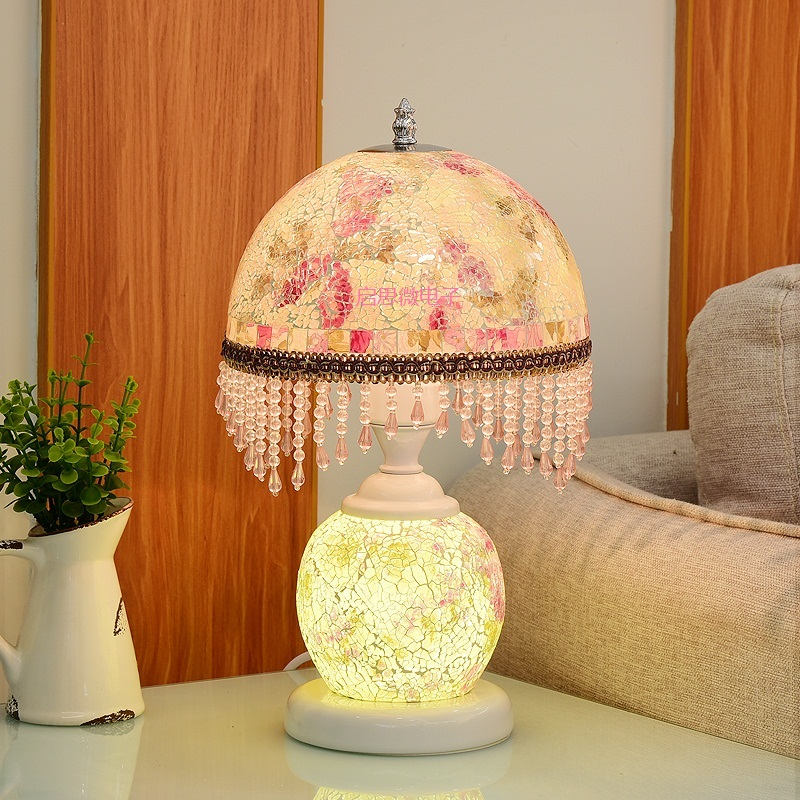 New European Glass Table Lamps Stained Glass Lamp For Bedside Study Pastoral Living Room Coffee Bar Marriage Room Table Lights living room high foot small bar table toughened glass bars table fashion household coffee bar table