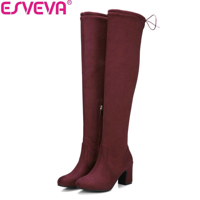 цены на ESVEVA 2018 Women Boots Suede Leather Over The Knee Boots Short Plush Round Toe Square High Heel Ladies Long Boots Size 34-43 в интернет-магазинах