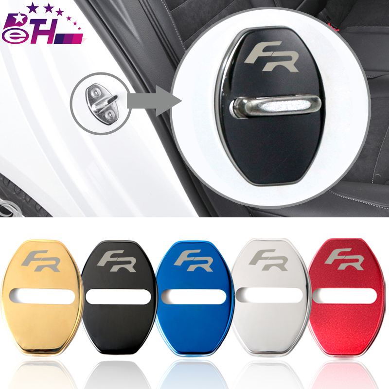 4pcs Car-Styling Door Lock Cover Car Emblem Fit For Seat FR Leon Ibiza Altea Alhambra Accessories Stainless Steel Car Styling