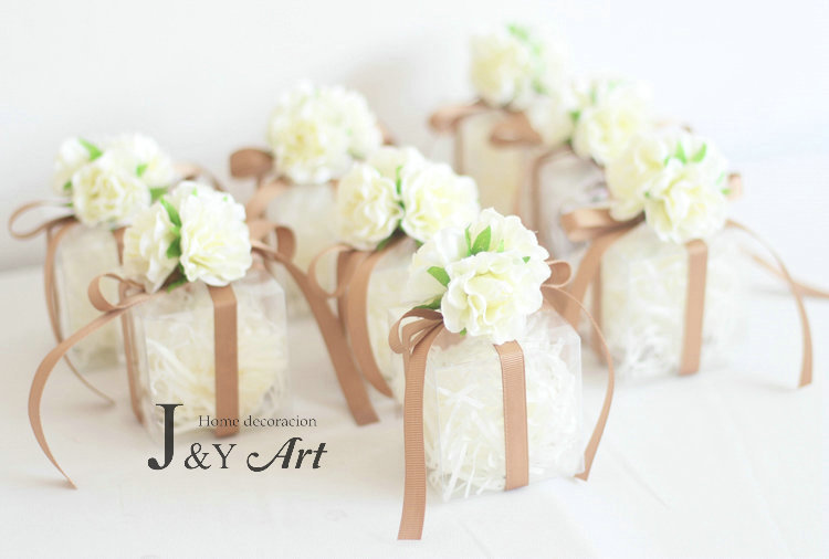 Romantic Candy Boxes with Transparent Silk Flower Plastic Candy Boxes Chocolate Wedding Favor Party Gift 10pcs