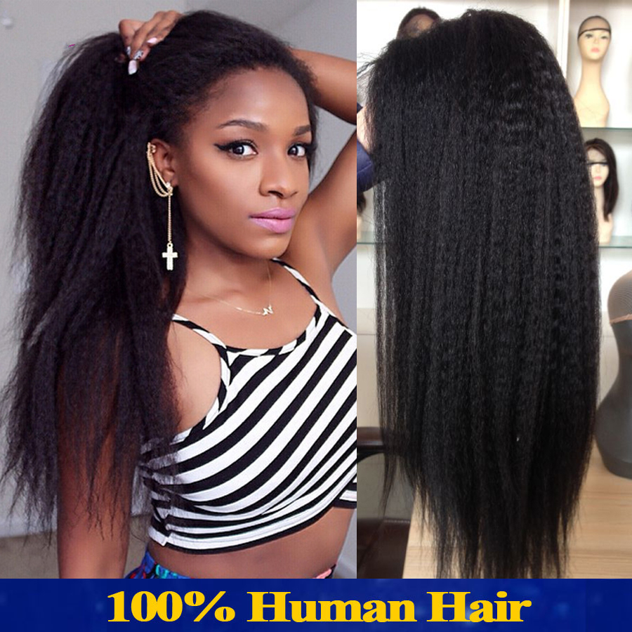 Italian Yaki Full Lace Wig Peruvian Human Hair Lace Front Wigs With Baby  Hair Upart Wig 100 Human Hair Wig For African Americans-in Human Hair Lace  Wigs ... 4c9b3decbb00