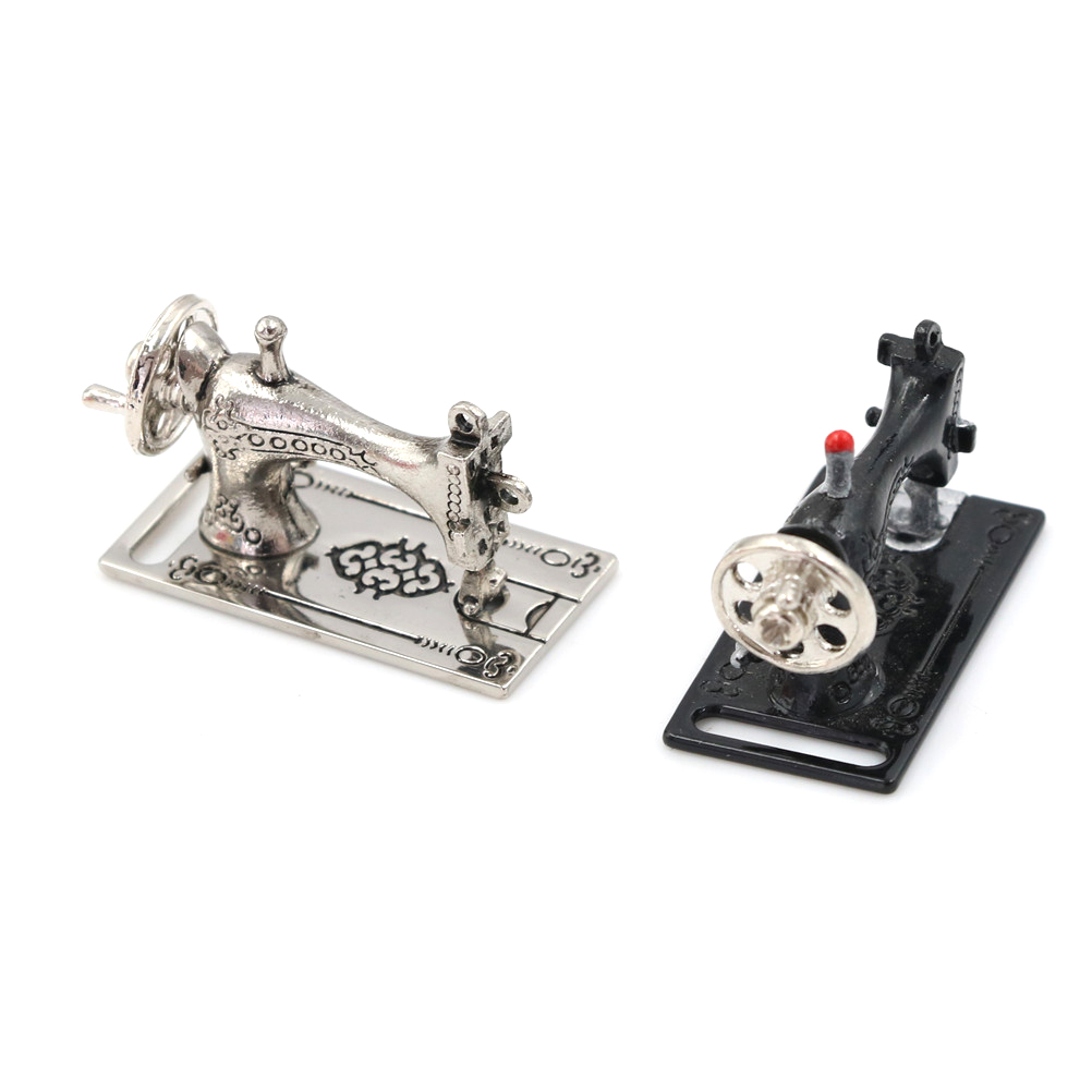 Vintage Miniature Sewing Machine Furniture Toys Gifts Miniatura Toy For 1/12 Doll House Decor Retro Children Toys Accessories