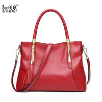 BRIGGS Genuine Leather Luxury Handbags Women Bags Designer Tote Business Real Leather Shoulder Messenger Bag Ladies Hand Bags