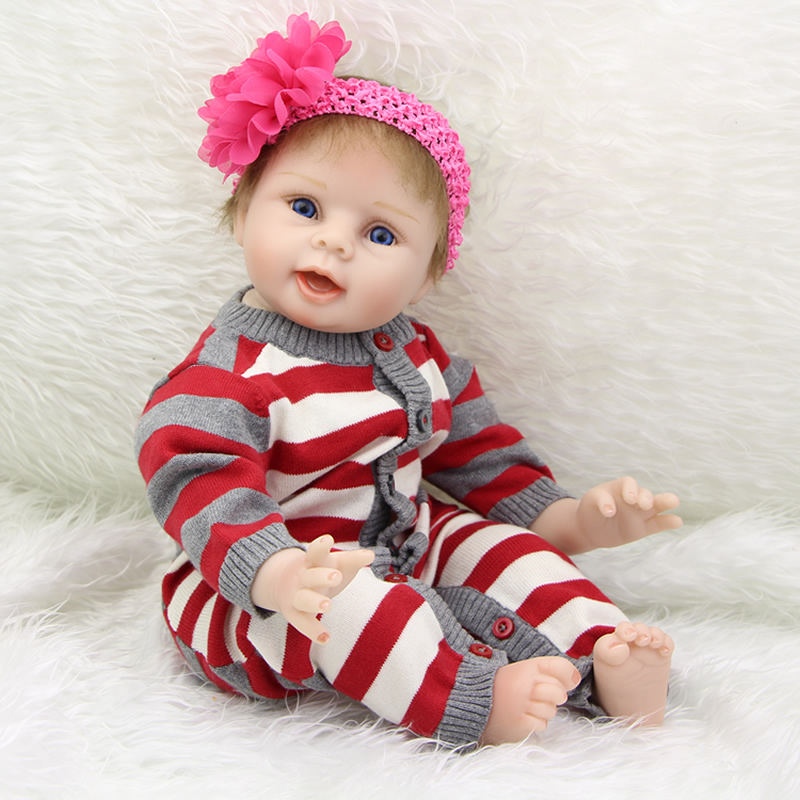 New 22 inch Silicone Reborn Babies Doll Girls Vinyl Realistic Newborn Dolls Kids Birthday Gift Free Magnet Pacifier Dummy big discount 2017 new fashion high quality 22 inch reborn babies doll soft silicone boy dolls newborn kids birthday gift