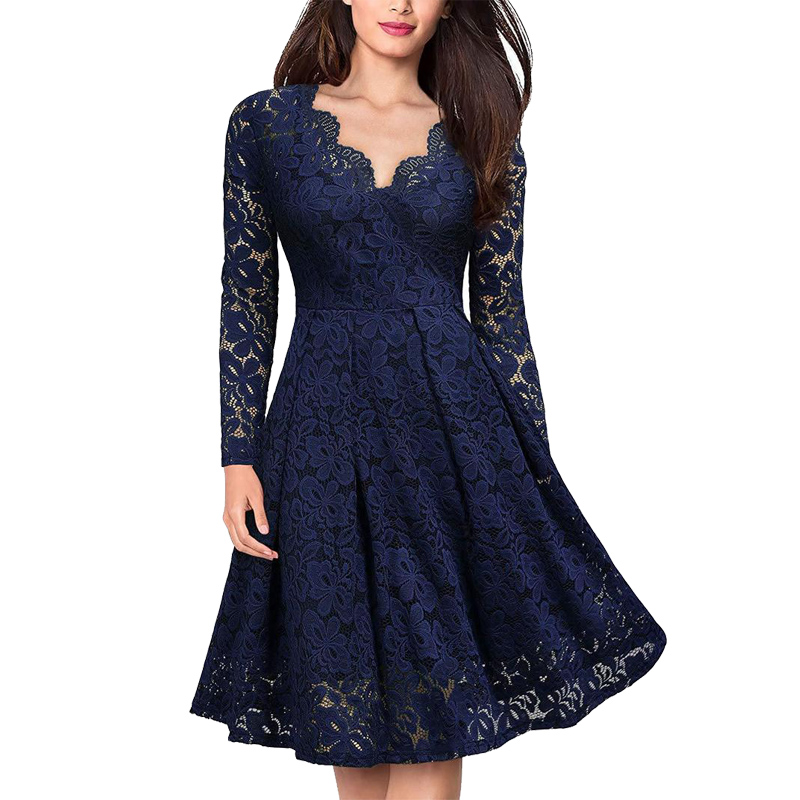 Summer Sexy Dress Women Vintage Elegant Lace Dress Long Sleeve V Neck Red Robe Femme Casual Dresses Woman Party Night Vestidos
