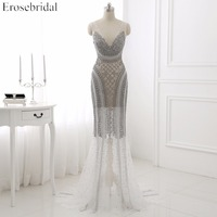 Vestido De Festa Luxury Beading Tulle Prom Dress Mermaid Deep V Neck Backless Sweep Train Formal