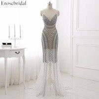 vestido de festa Luxury Beading Tulle Prom Dress Mermaid Deep V Neck Backless Sweep Train Formal Party Dress WYP041