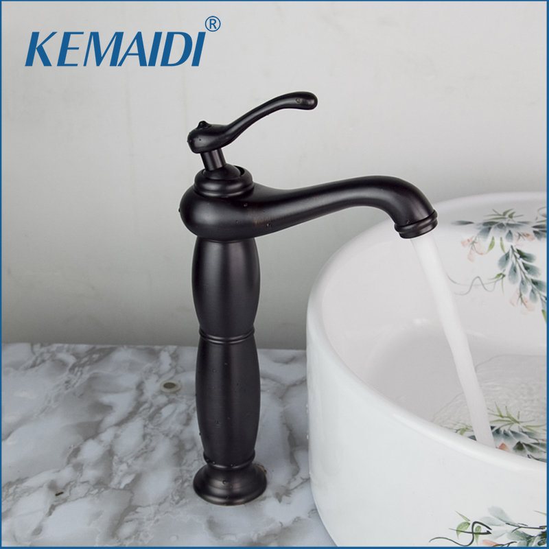 KEMAIDI  Oil Rubbed Bronze Bathroom Wash Basin Sink Single Handle Vessel Cold/Hot Mixer Water Faucets Tap Europe Style hello tall wash basin bathroom oil rubbed black bronze 97105 deck mounted ceramice single handle sink torneira faucets mixer tap