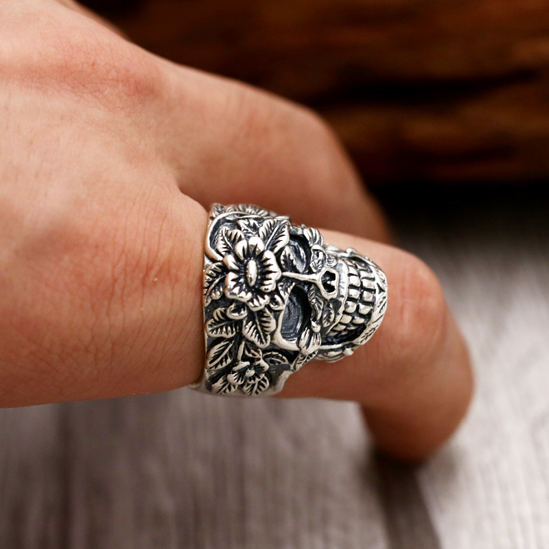 S925 Sterling Silver Retro Thai Silver Jewelry Personal Punk Skulls Wide Edition Men Open Ended Ring