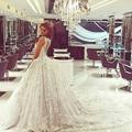 2017 Vestidos de Casamento Venda Quente Sweetangel Lace Ball Vestido Handmade Flores Vestido de Noiva Catedral Trem Do Vintage Vestido De Novia