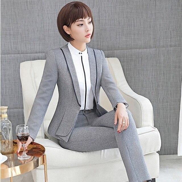 Novelty Grey Autumn Winter Formal Uniform Design Pantsuits With ...