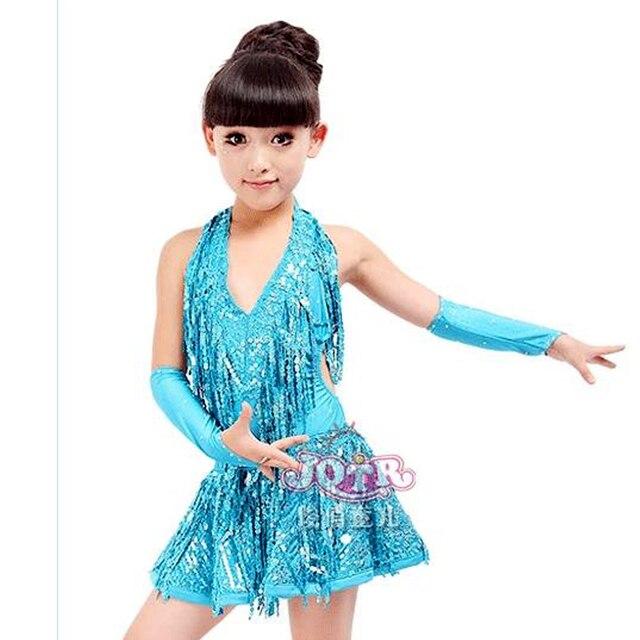 02f6af9671 Dzieci sala balowa sukienka do tańca niebieski różowe do tańca  towarzyskiego sukienki dzieci S-