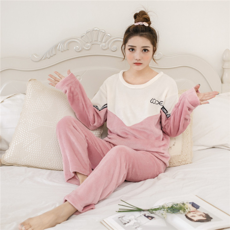 Women   pajamas     sets   Thick   Pajama   Flannel Brown Bear Print Warm Winter Female   Pajama     Set   Long Sleeve Full Trousers Two Piece 2018