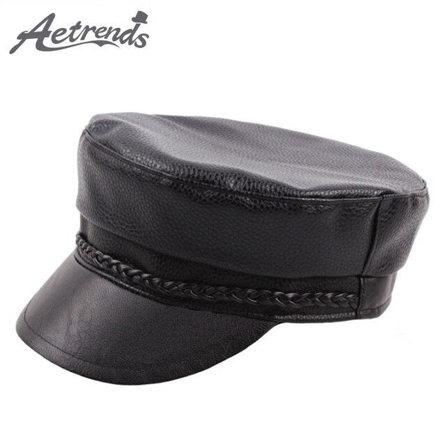 AETRENDS 2018 nueva de cuero genuino militar gorras plana sombreros para  hombres y mujeres gorra f025751dd0c