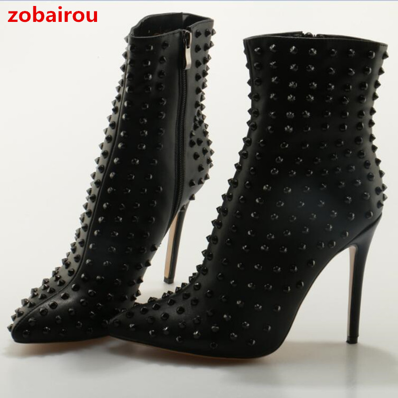 Zobairou Black Ankle Boots High Heels Pointed Toe Sexy Snow Boots Woman Leather Shoes Rivets Studded Winter Women Botas Mujer black ankle boots women high heels pointed toe sexy snow boots woman shoes rivets winter women boots with fur botas mujer b 0197