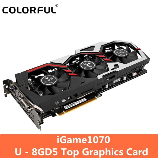 Original Colorido iGame1070 U-8GD5 Top GDDR5 Jogos 256bit Placa de vídeo GeForce GTX 1070 com HDMI/DVI/ DP 1.4 Interface