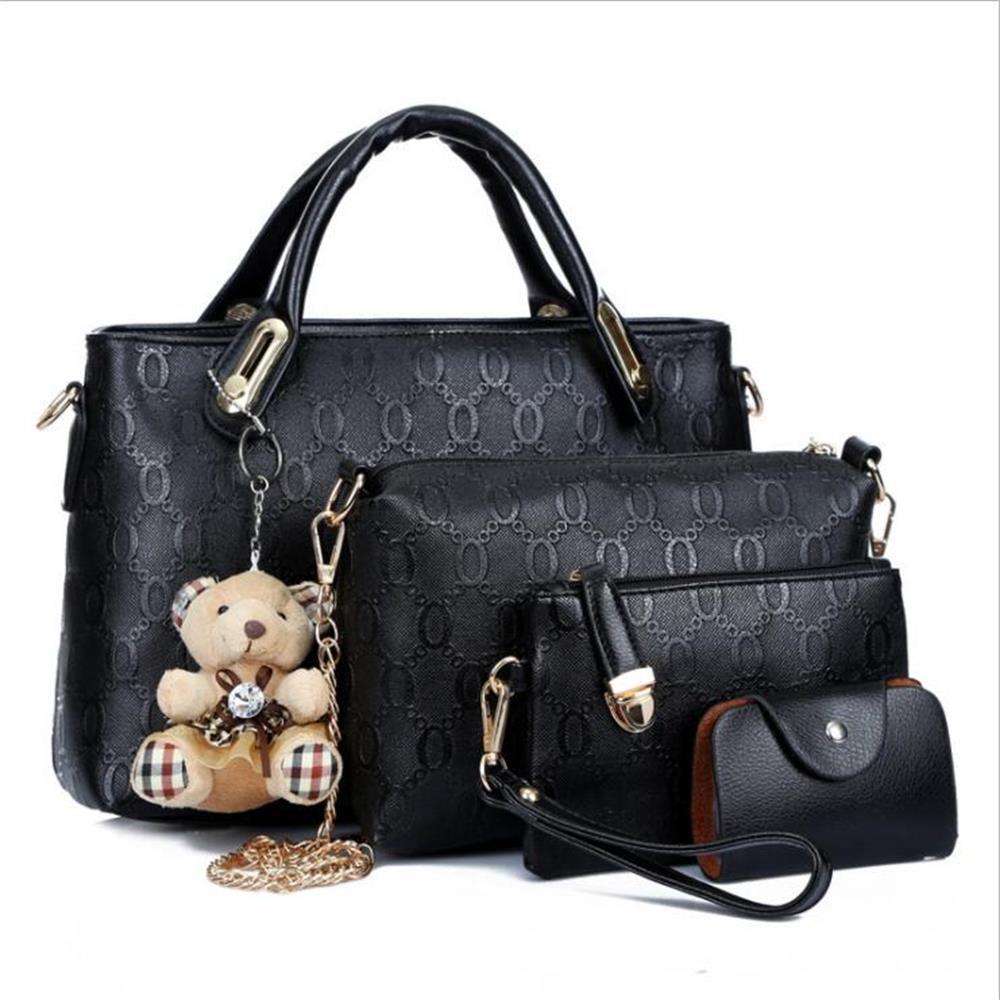 4 Set PU Leather Composite Bag Women Bag Top-Handle Bags Female Famous Brand 2018 Women Girls Messenger Bags Handbag Crossbody pongwee 2017 women messenger bags handbag set pu leather composite bag women bag top handle bags female famous brand