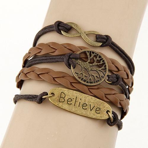 Leather Charm Bracelet - brown positivity 2
