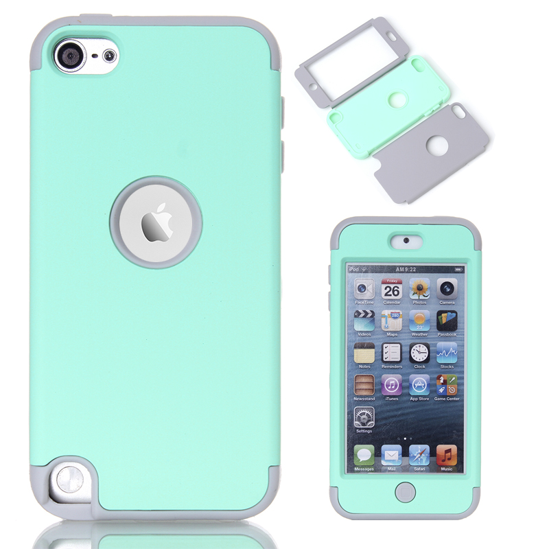 online retailer 1904a ecc1c Multi Colors Impact Hard & Soft Silicone Hybrid Shockproof Case Cover For  iPod Touch 5 6th Generation w/Screen Film+Stylus Pen-in Fitted Cases from  ...