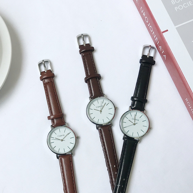 Minimalist Women Watches Black Brown Leather Quartz Watch 2019 New Fashion Ulzzang Brand Simple Female Wristwatches Neat Clock