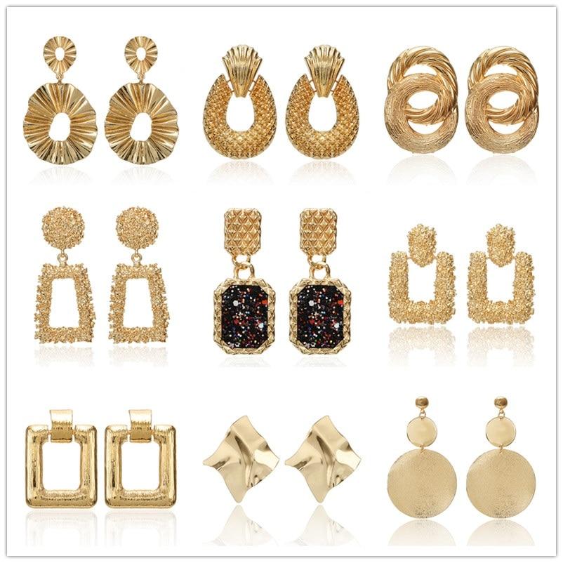 2019 New Fashion Golden Drop Earrings For Women Exggerated Geometric Vintage Earrings Wedding Party Gifts Bijoux Wholesale