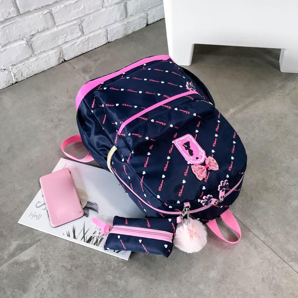 Women Bow Canvas Three-piece School Bag 24