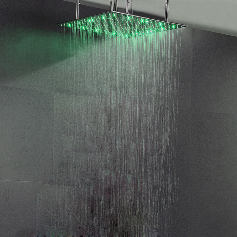 LED Light Oversized Square Shower Head 4131 Inch Rainfall Water Saving Shower Heads Single Chrome soffione doccia Big SPA duche 3