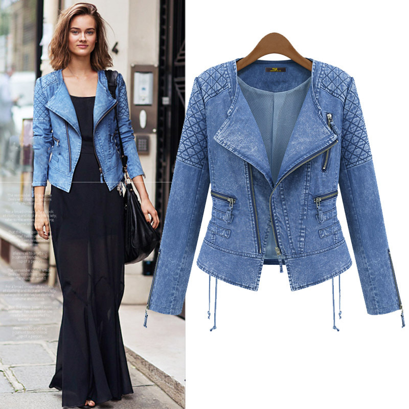 2015 NEW European Vintage style Women Denim Jacket Coat Jean Blue ...