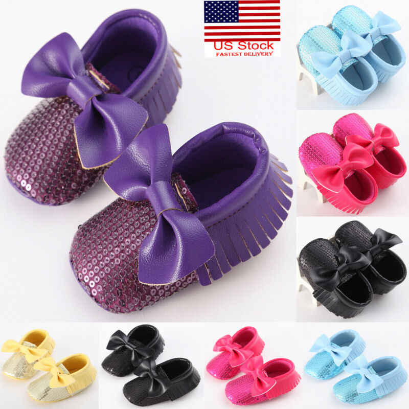 2019 Brand Newborn Bow-knot First Walker Tassel Shoes Infant Baby Girl Crib Shoes Pram Sole Prewalker Anti-slip Sneakers
