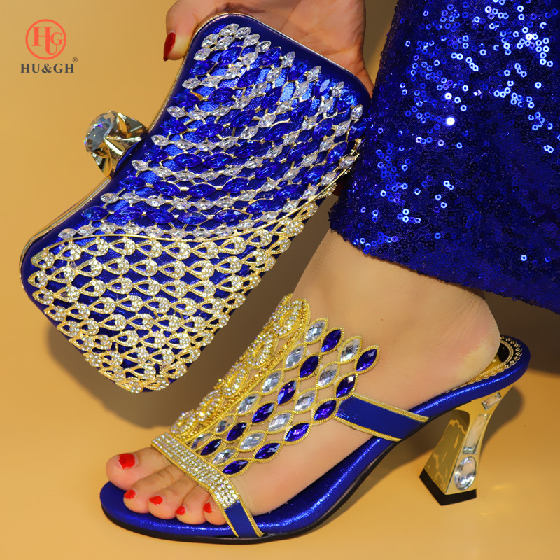 Royal Blue Color Shoe And Bag Set New 2018 Women Shoes And Bag Set African Wedding Sandals Italian Shoes With Matching Bags Set(China)