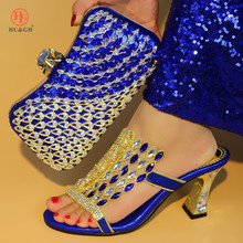 الملكي الأزرق اللون حذاء وحقيبة مجموعة جديدة النساء الأحذية وحقيبة مجموعة الزفاف الأفريقية الصنادل الأحذية الإيطالية مع أكياس مطابقة مجموعة