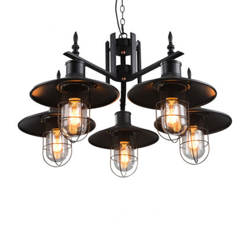 Loft vintage pendant lights industrial lustre cage pendant for Suspension luminaire cage
