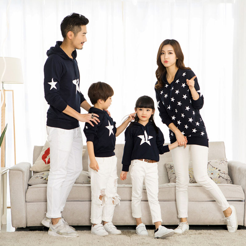 2 Colors Cotton Printing Long Sleeve Father Mom And Son Pullover Sweater Matching Mother Daughter Clothes Family Clothing