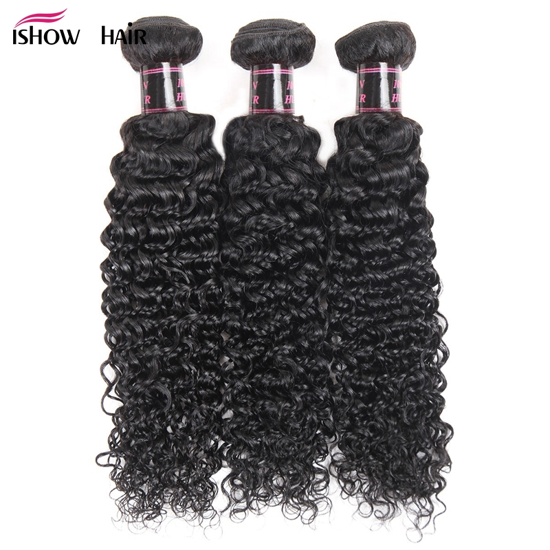 Ishow Peruvian Curly Hair 3 Bundles Human Hair Natural Color Non Remy Human Hair Extensions Double