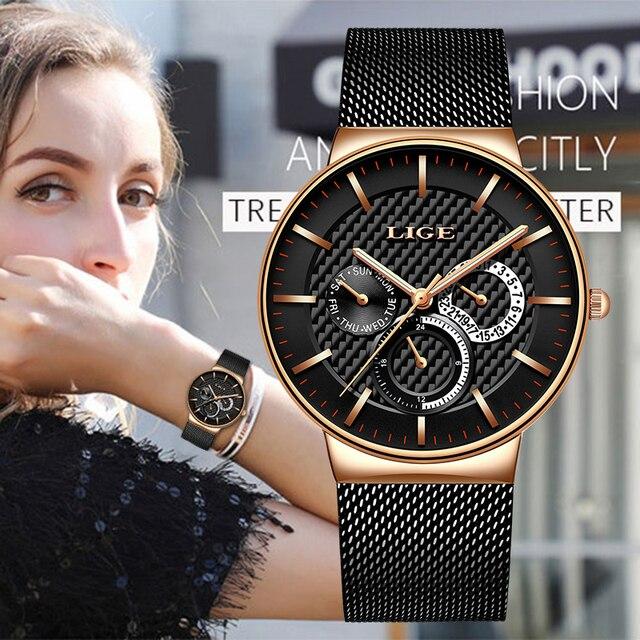 LIGE 새로운 여성 패션 시계 크리 에이 티브 레이디 캐주얼 시계 스테인레스 스틸 메쉬 밴드 세련된 Desgin 럭셔리 쿼츠 시계 여성을위한