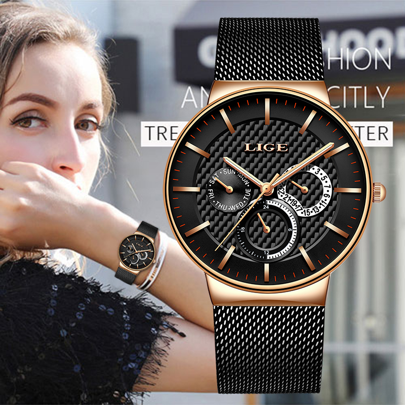 LIGE New Women Fashion Watch Creative Lady Casual Watches Stainless Steel Mesh Band Stylish Desgin Luxury Quartz Watch For Women