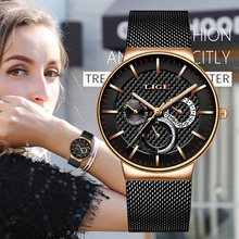 LIGE New Women Fashion Watch Creative Lady Casual Watches Stainless Steel Mesh Band Stylish Desgin Luxury Quartz For