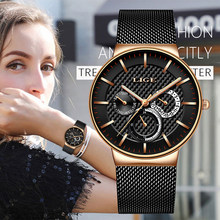 LIGE New Women Fashion Watch Creative Lady Casual Watches Stainless Steel Mesh Band Stylish Desgin Luxury Quartz Watch For Women(China)