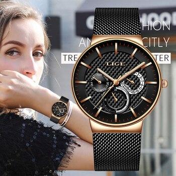 LIGE nuevo reloj de moda para mujer, relojes creativos e informales para mujer, reloj de cuarzo de lujo de diseño elegante con banda de malla de acero inoxidable para mujer