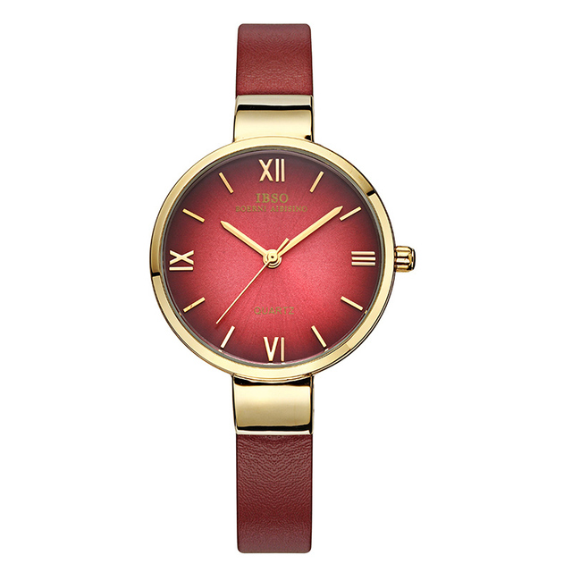 IBSO Top Brand Fashion Red Watch Women Genuine Leather bracelet watch Women Watc