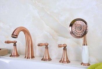Antique Red Copper Brass Deck 5 Holes Bathtub Mixer Faucet Handheld Shower Widespread Bathroom Faucet Set Basin Water Tap atf203