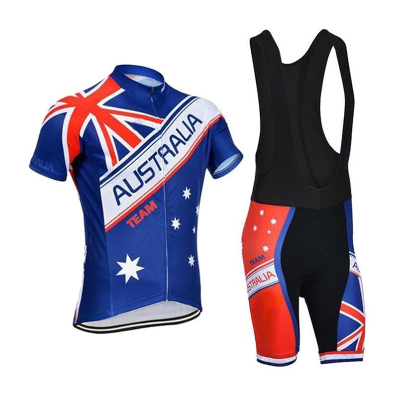Prix pour 2017 Australie drapeau Maillots de Cyclisme À Manches Courtes Vélo Vêtements De Vélo 100% Polyester Cyclisme Chemise À Séchage Rapide à Vélo Clothing