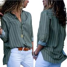 Новая мода, полосатые рубашки на пуговицах, женские блузки с длинными рукавами, повседневные свободные блузки с отложным воротником, OL стиль, Blusas Femininas SJ595U