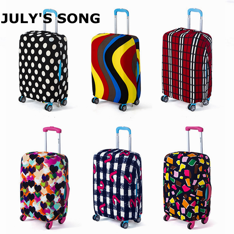 JULY'S SONG Travel On Road Luggage Cover Protective Suitcase Trolley Case Cover For 18-30 Inch Case Dust Cover Stretch Fabric