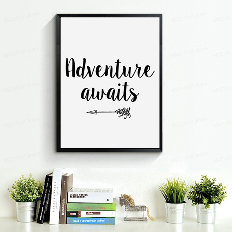 Arrow Adventure Awaits Printable Canvas Paintings Poster Print Motivational Quote Nursery Art Wall Pictures Home Decor No Frame In Painting Calligraphy
